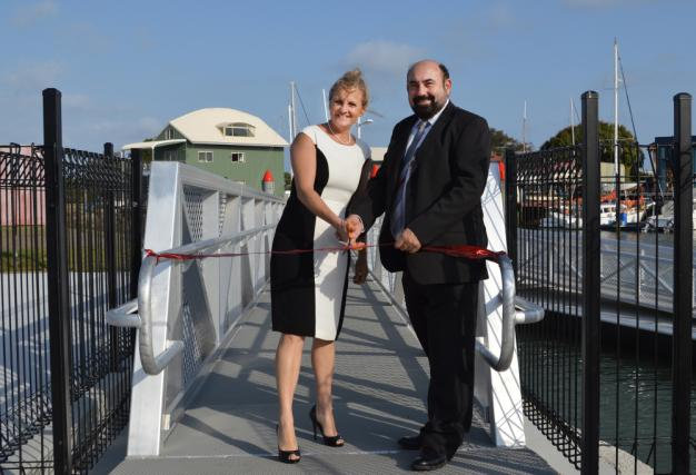 Redland City Mayor, Karen Williams and Councillor Mark Edwards (Division 5) officially open the new pontoon at Weinam Creek