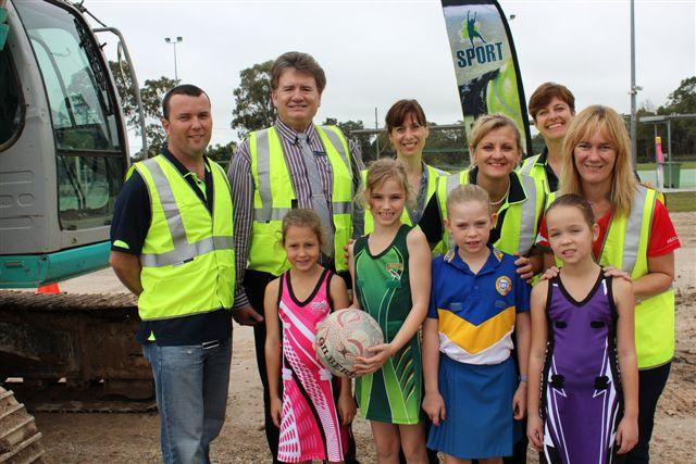 Back row: Tim Goward, Cr Lance Hewlett, Cr Kim-Maree Hardman, Mayor Karen Williams, Kristina Dickson, Cath Smeeton.Front row: Tahlia Payne (Pink Magic Netball Club), Chloe Turner (Lorikeets), Prinella Van Hasten (Raiders) and Tarryn Jaffrays (Thunderbolts).