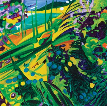 Image: Luke Roberts, Paradise painting (Cylinder Beach) 2005, Oil over synthetic polymer paint on canvas. Redland Art Gallery Collection. Acquired in 2005 with Redland Art Gallery Acquisition Funds. Courtesy of the artist. Photographed by Carl Warner.