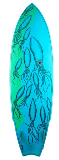 Image: Jess (Allom) Scott, Squid, Glide Surfboard 5'10 twin fin. Courtesy of the artist.