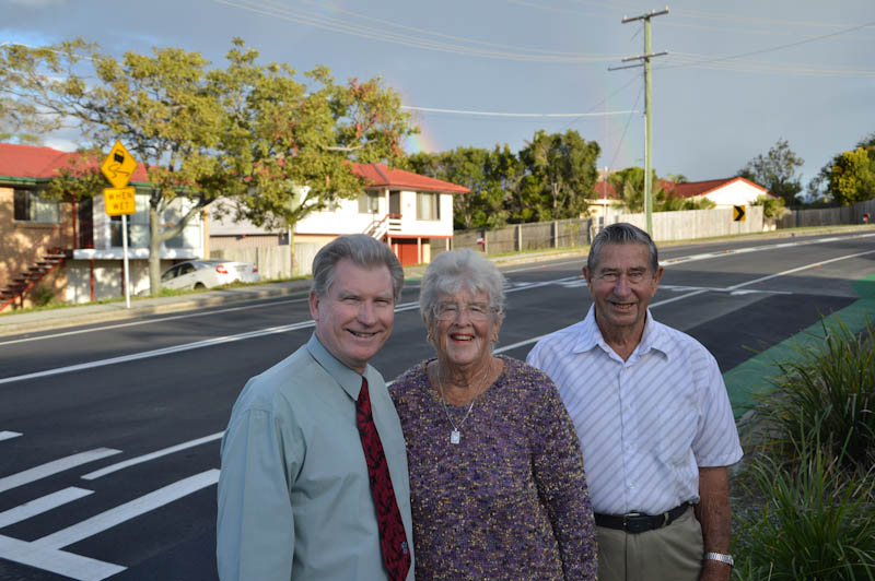 Deputy Mayor and Division 8 Councillor Cr Alan Beard with Allan and Eileen Sutton at the Allenby Road upgrade.