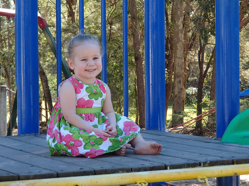 Amber Rylance, 2, enjoys the specially selected play equipment at Redland City Council's Gundagai St park at Capalaba