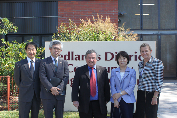 L to R: Mr Tetsuo Mizuno, CEO Australia-Japan Wildlife Conservation and Education Foundation, Mr Shinya Machida, Deputy Consul-General, CDSHS Principal Paul Bancroft, the Consul-General, Redland City Mayor, Karen Wiliams.