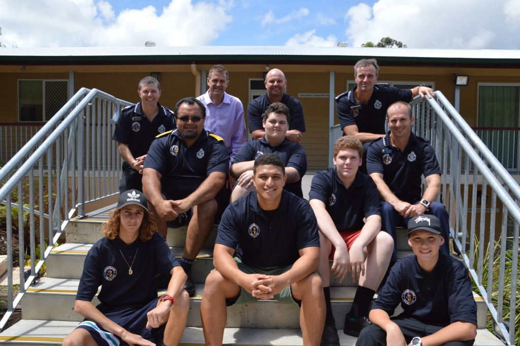 Redlands locals participating in Project Booyah this year are (front from left) Sebastian Hayward, Helaman Samuela, Tien Rogers, (middle from left) Police Liaison Officer Tom Govenor, Josh Goodman, Emmett Jones, Redlands Coordinator Senior Constable Dave Alley, (back from left) Detective Acting Sergeant Nick Churchley, Redland City Council Officer Doug Hunt, Youth Support Officer Jason Evans and Acting Inspector Ian Frame.