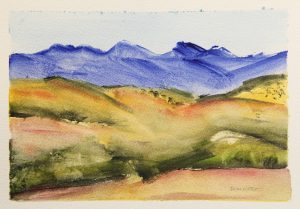 Brian Hatch, Wilpena Pound 2016, watercolour on paper. Courtesy of the artist.