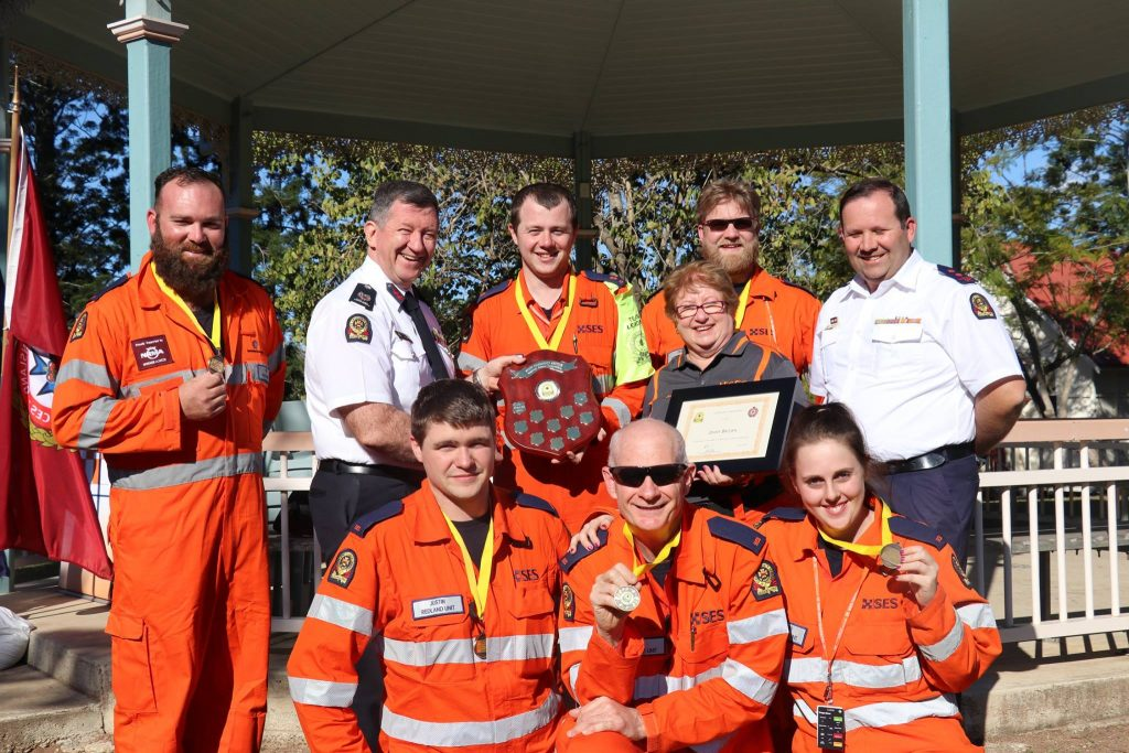 L-R: Joel Muraca, Assistant Commissioner (SES) Peter Jeffrey, Justin Kirkby, Corey Armstrong, Tim Willis, Jenny Brown, Tristan Hardwick, Steph Samuels, and A/Local Controller Peter Gould.