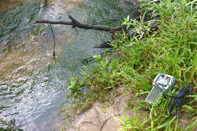 On Tap 6 - Measuring Dissolved Oxygen (DO) and temperature using a DO meter at one of our testing points at Hilliards Creek