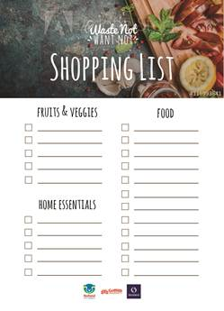 Waste Not Want Not shopping list