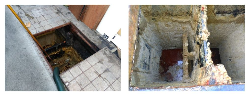 Fig 4Inspection shows build-up of solids reducing effectiveness of trap and reducing its life.