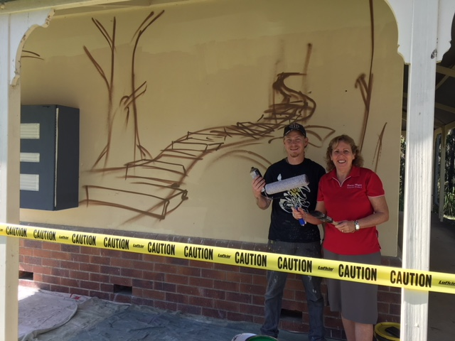 Artist Ben Stand with Cr Tracey Huges in design stage