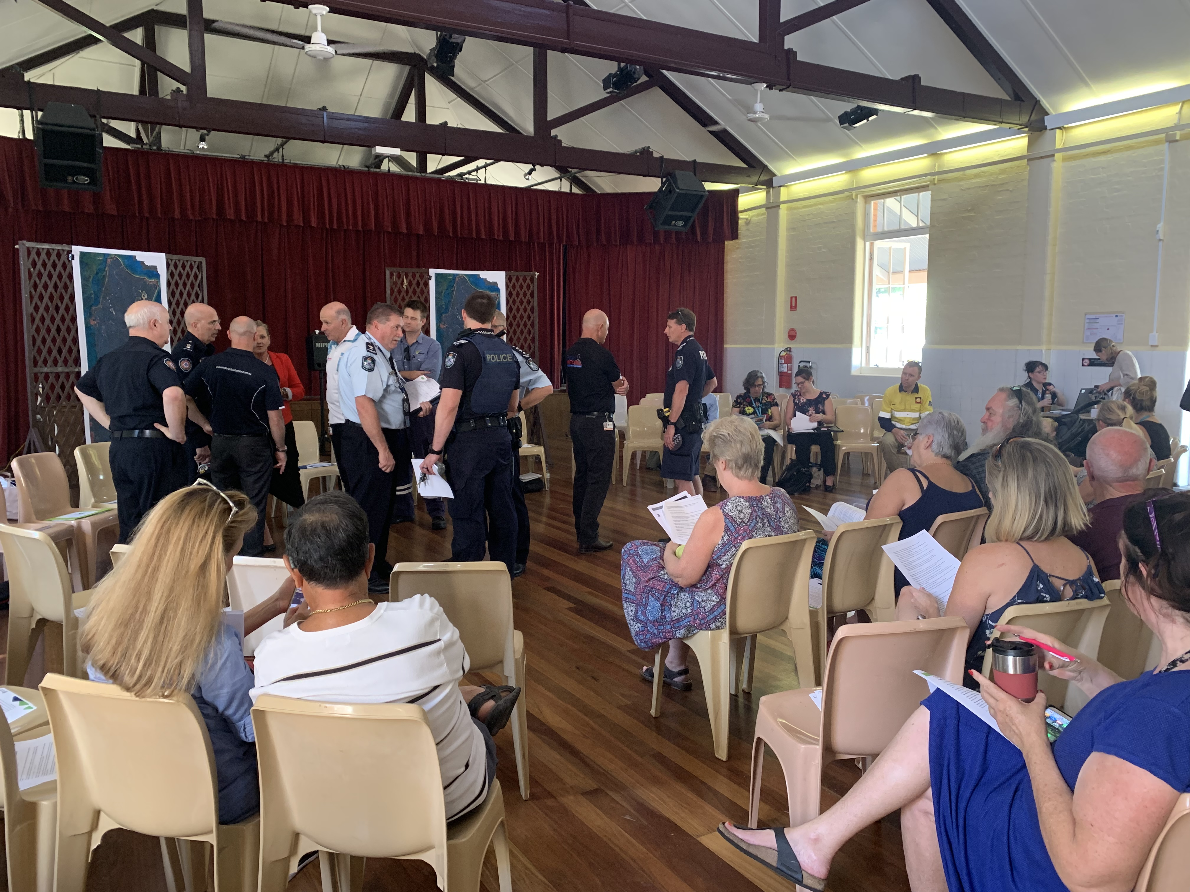 More than 60 residents attended the community meeting at Dunwich this afternoon to find out the latest information about the fire on North Stradbroke Island.